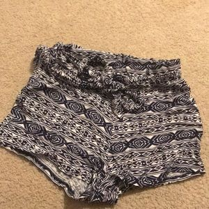 Aztec Print Navy and White Shorts